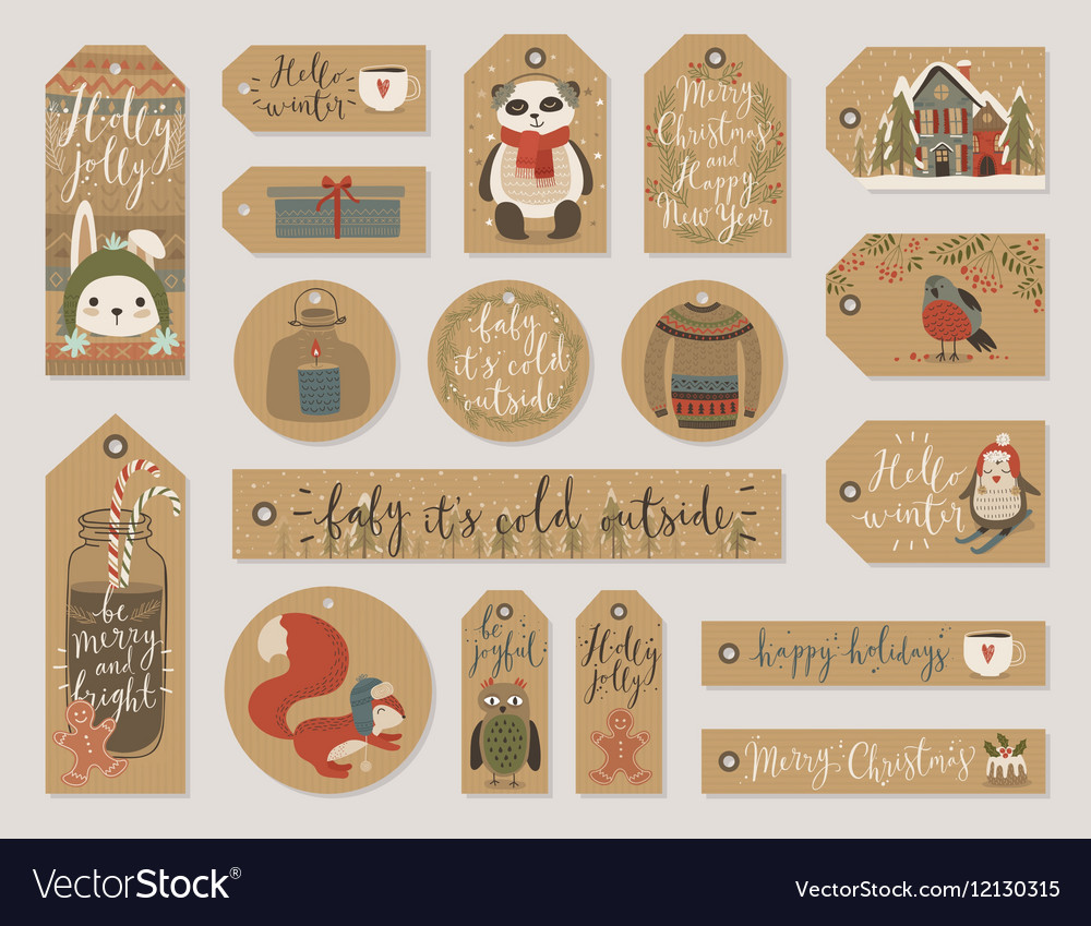 Christmas gift tags set hand drawn style