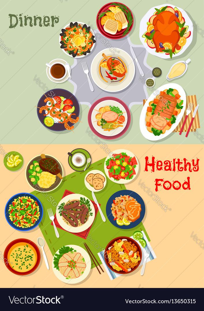 Healthy festive dinner icon set for menu design