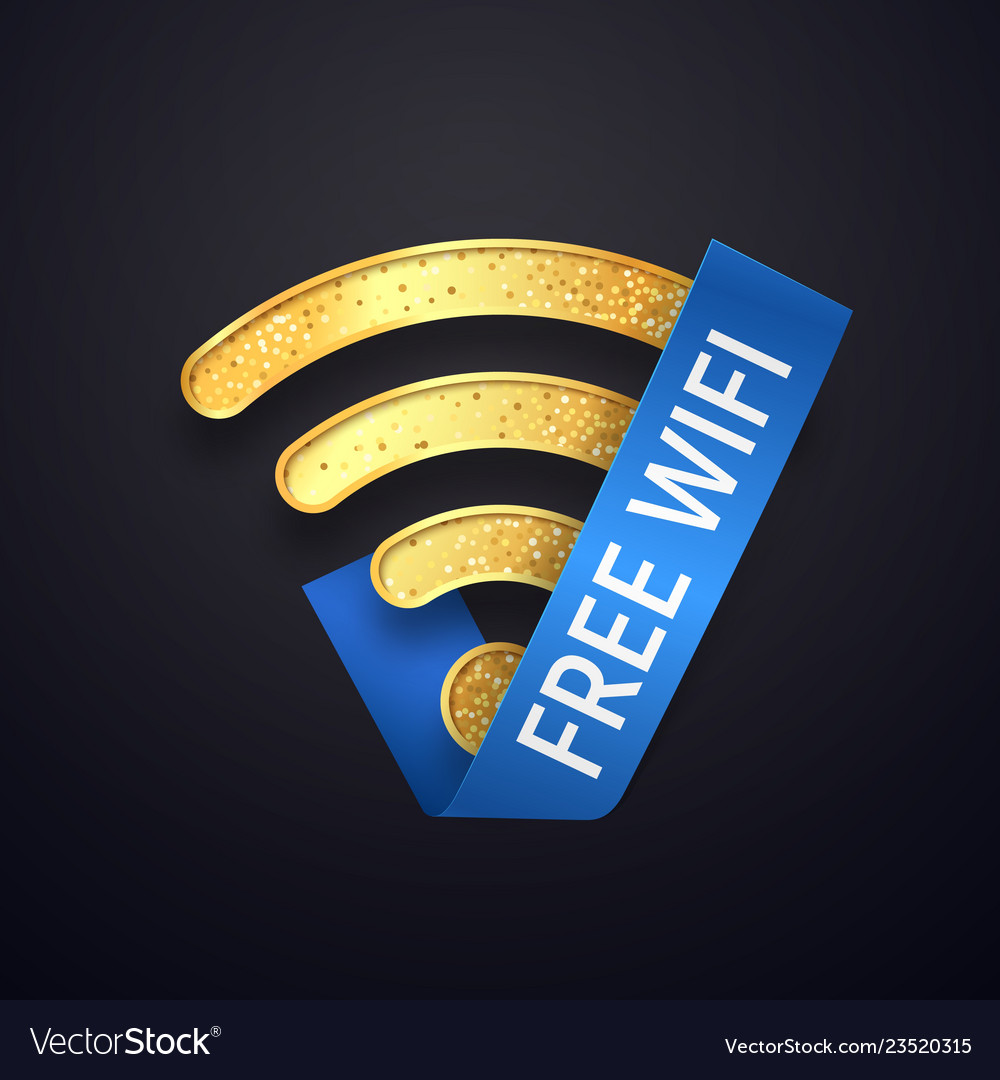 Isolated golden wifi icon with blue ribbon