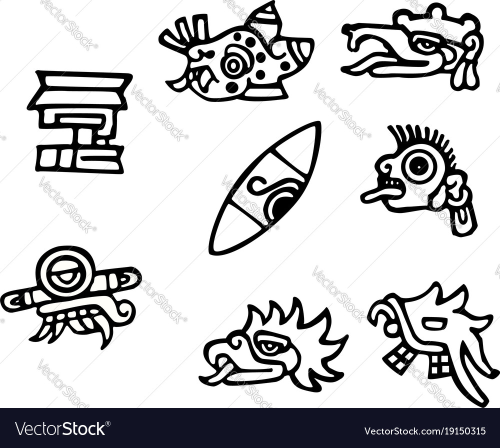 Mayan Symbols Great Artwork For Tattoos Royalty Free Vector
