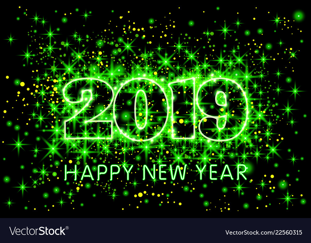 neon green typography happy new year 2019 in vector image