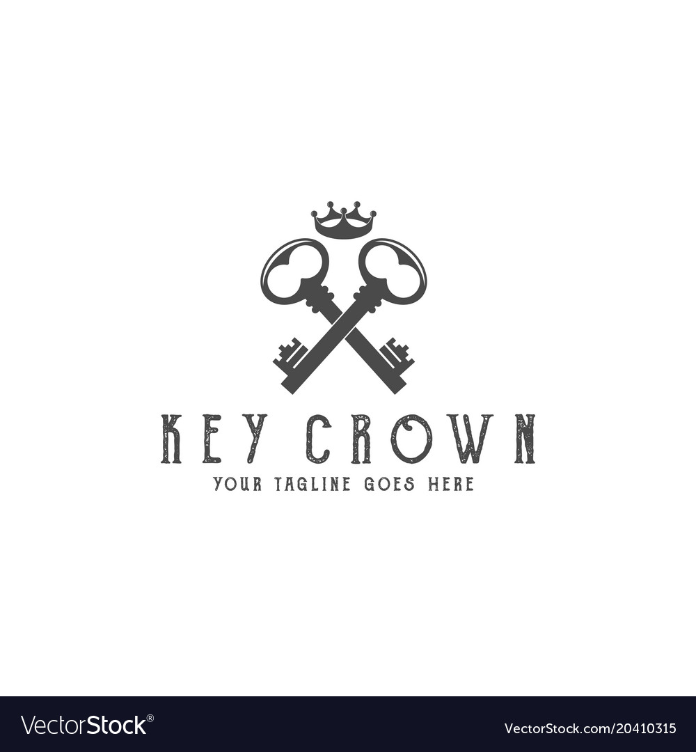 Old keys with crown logo