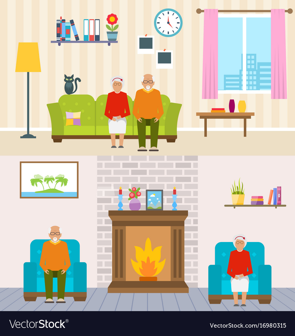 Old people home interior background aged