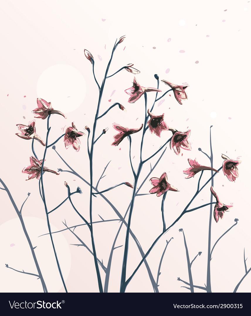Romantic Wild Flowers Composition vector image