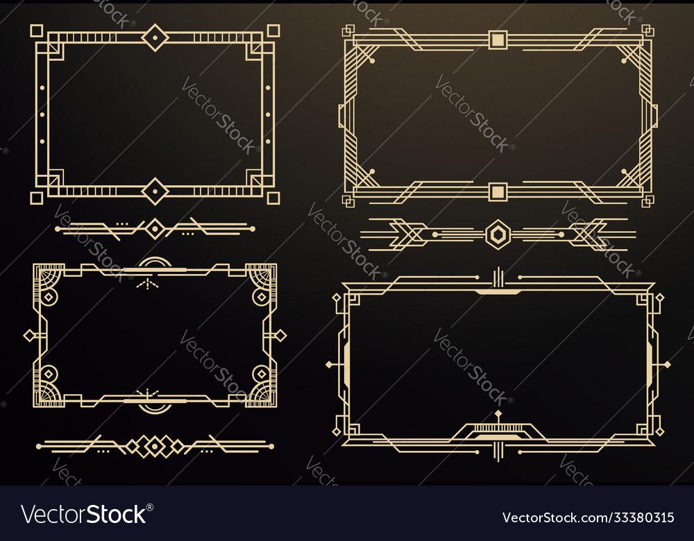 Set art deco frames and borders decorative