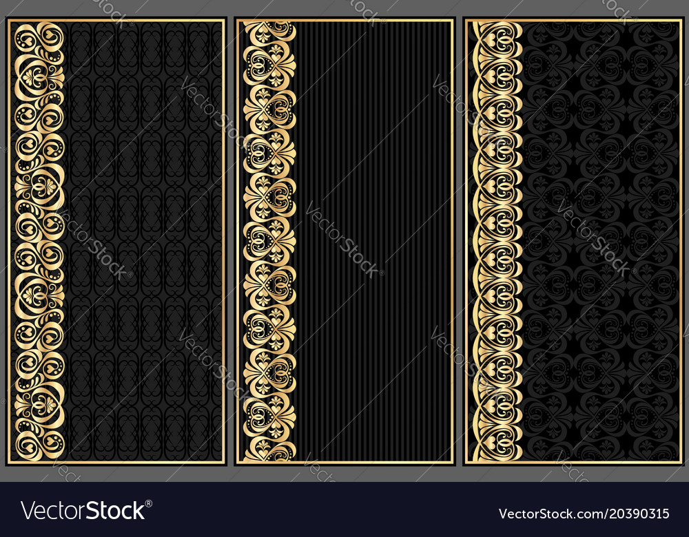 Set of black labels with gold pattern
