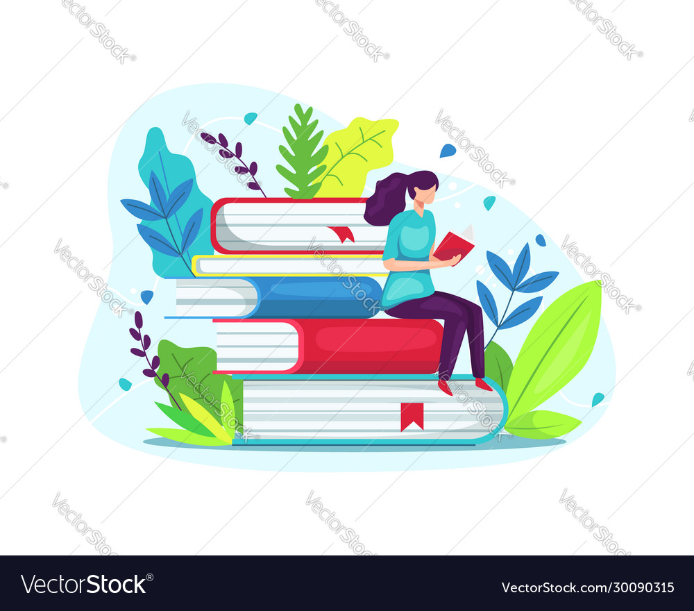 Young student woman reading