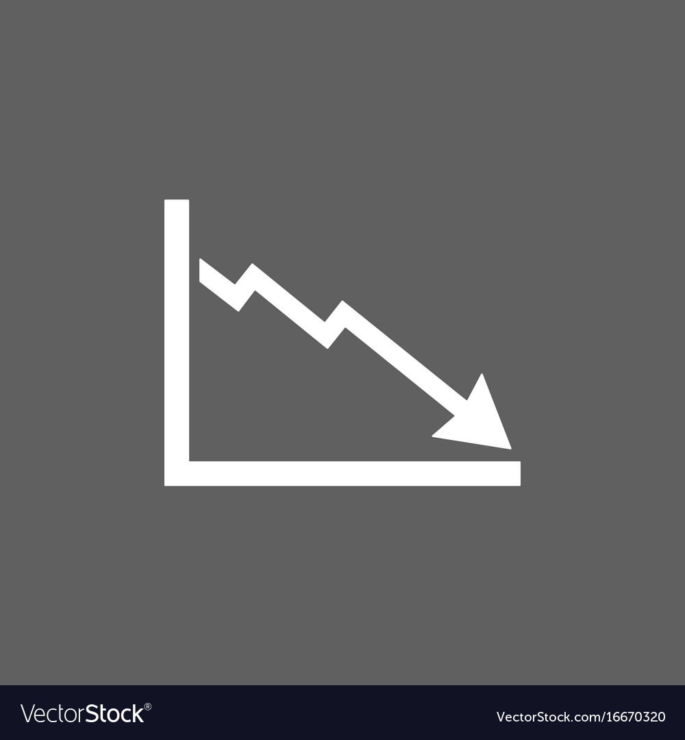 Bankruptcy chart icon on dark background vector image