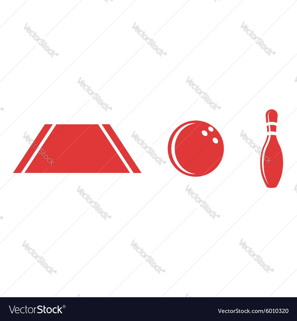 Bowling set ball isolated pins track sport icon vector image