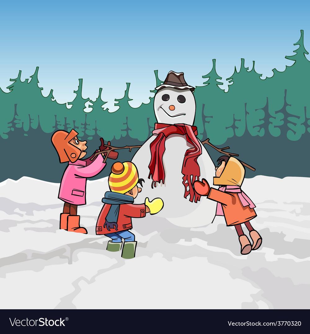 Cartoon children mold the snowman in winter
