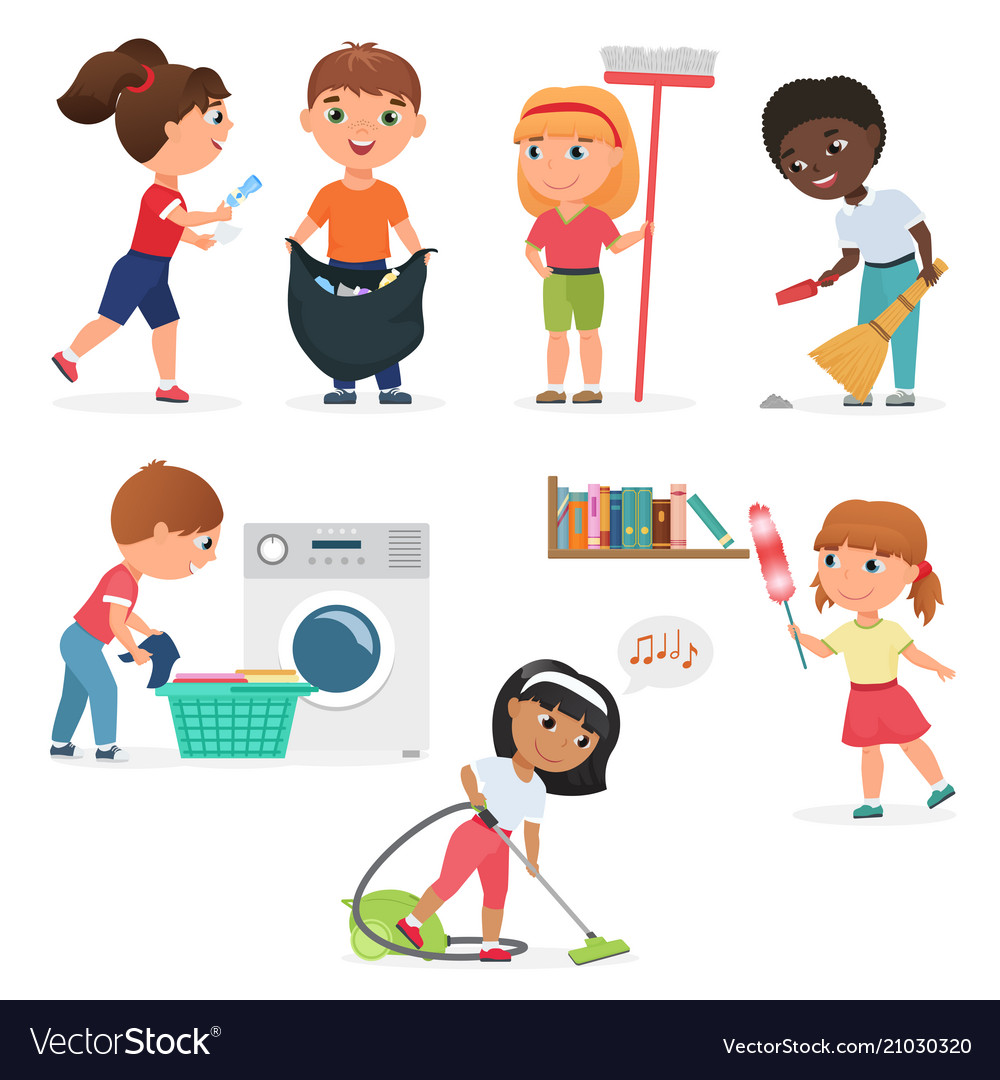 Cartoon kids cleaning at home set children