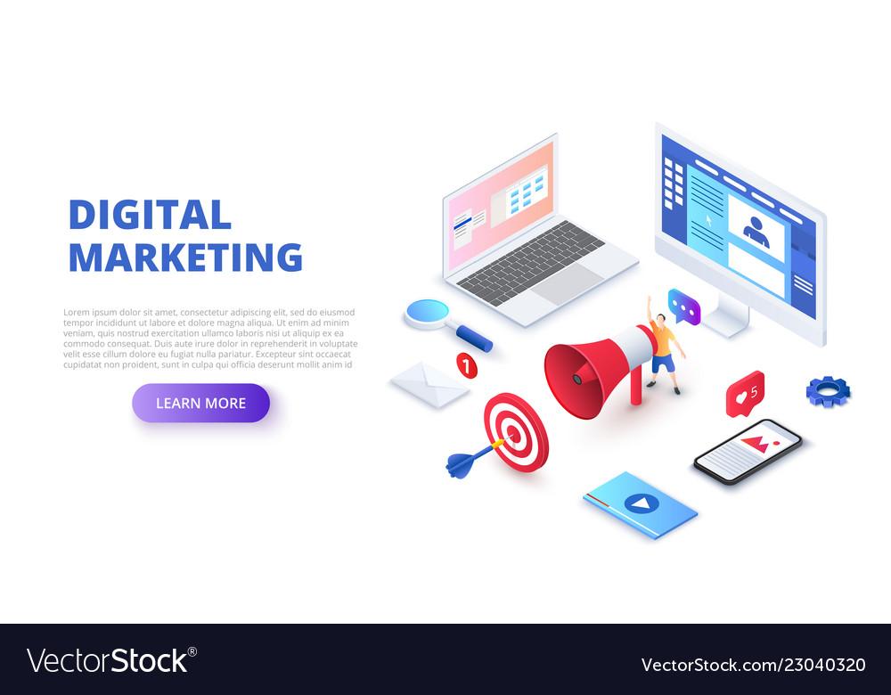Digital marketing design concept with computer