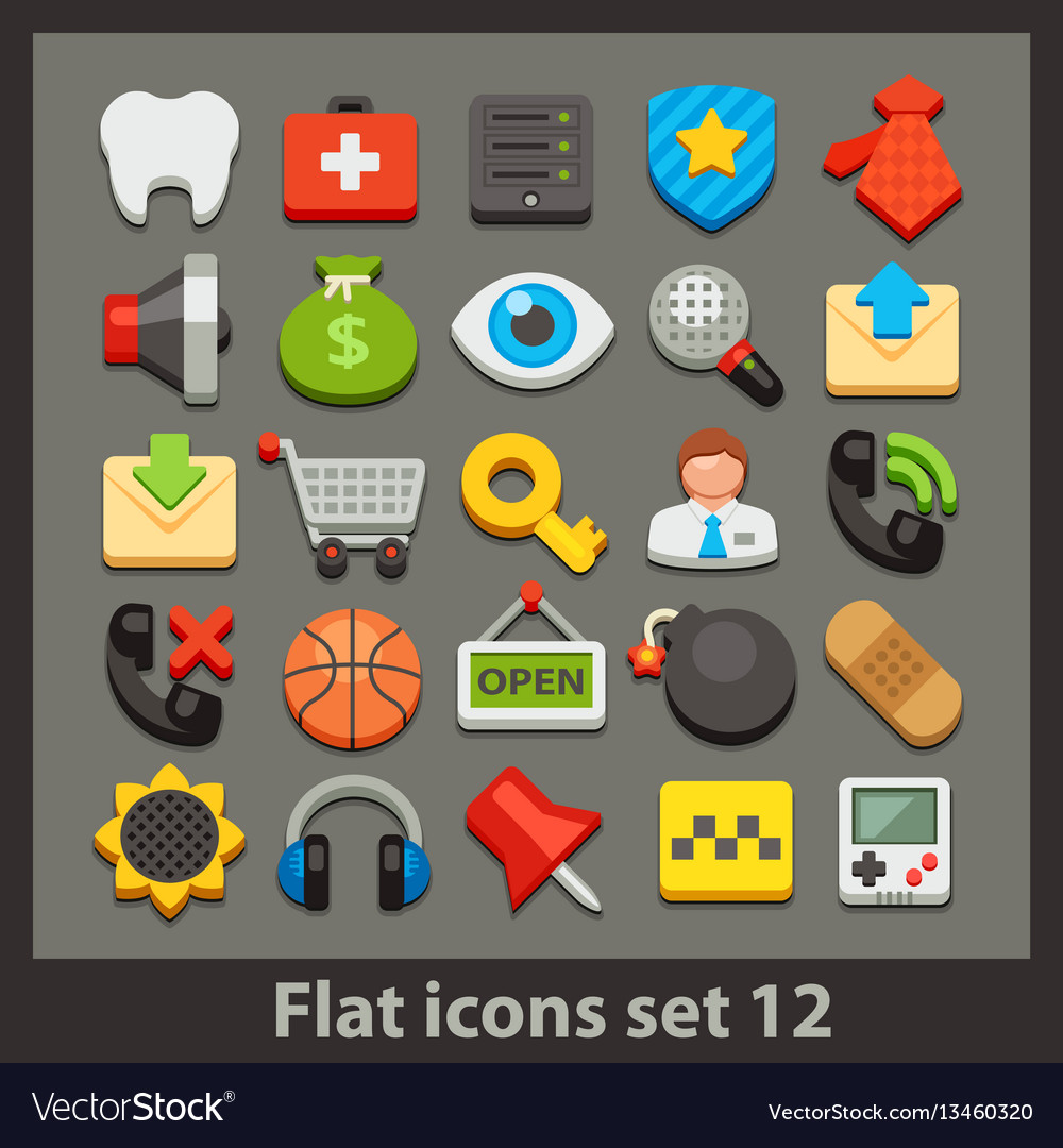 Flat icon-set 12