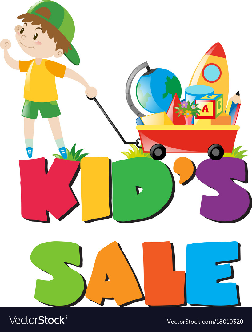 e8adcc9af8c0 Kids sale poster with boy and toys Royalty Free Vector Image
