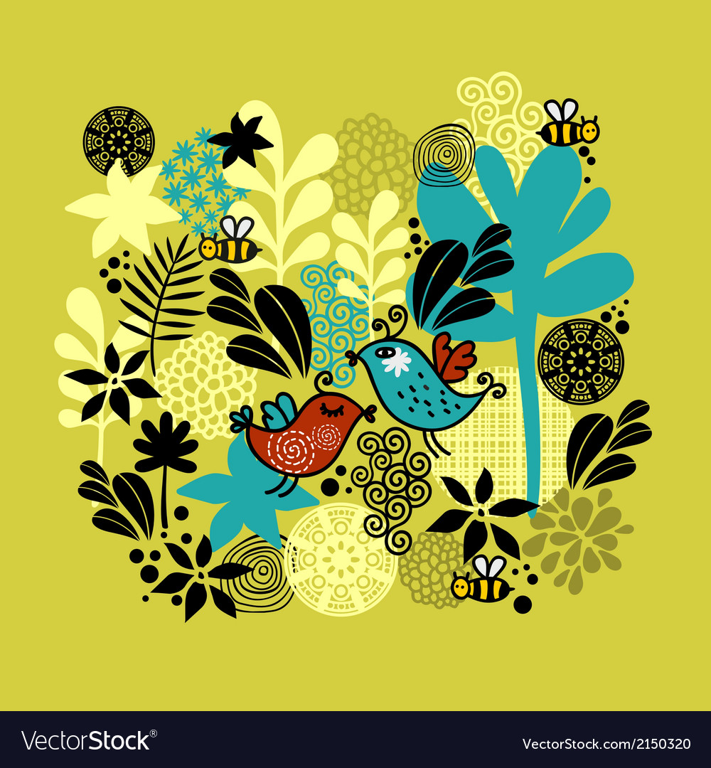 Pattern with birds in love vector image
