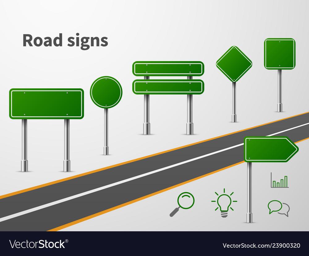 Road sings banner traffic street route blank