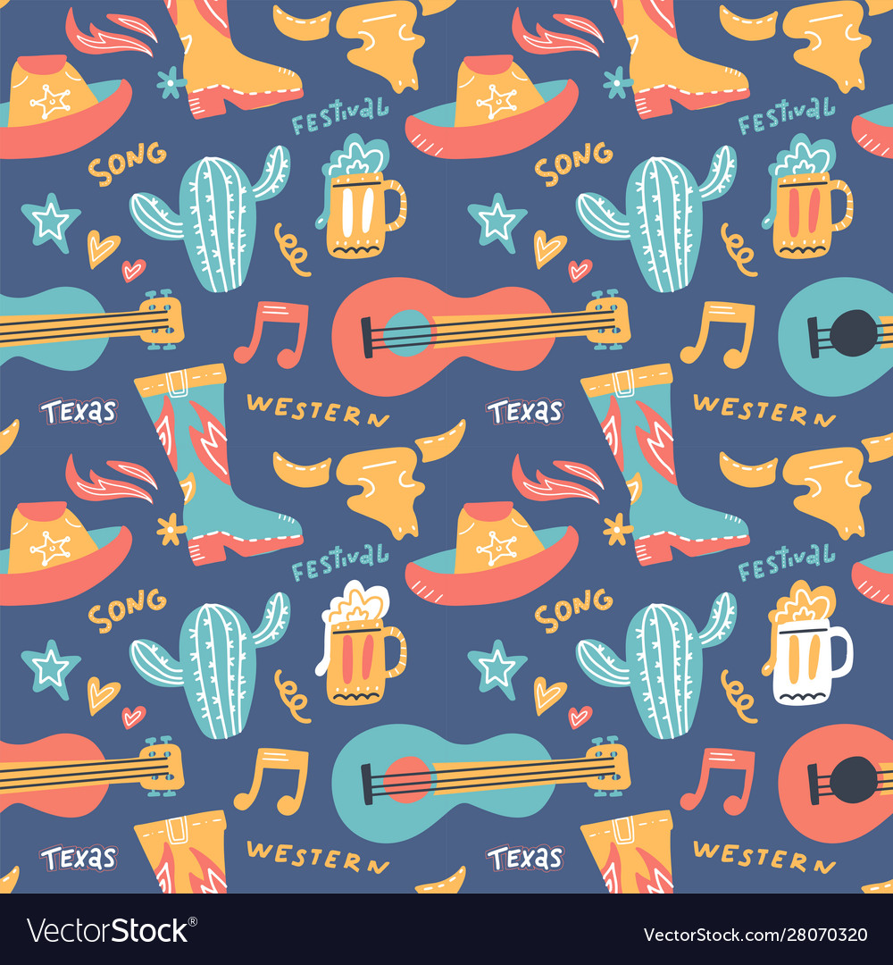 Seamless pattern with country music elements