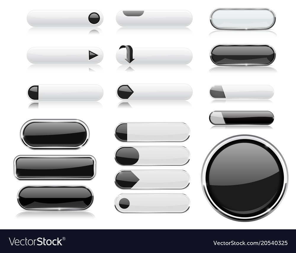 Black and white menu buttons interface elements