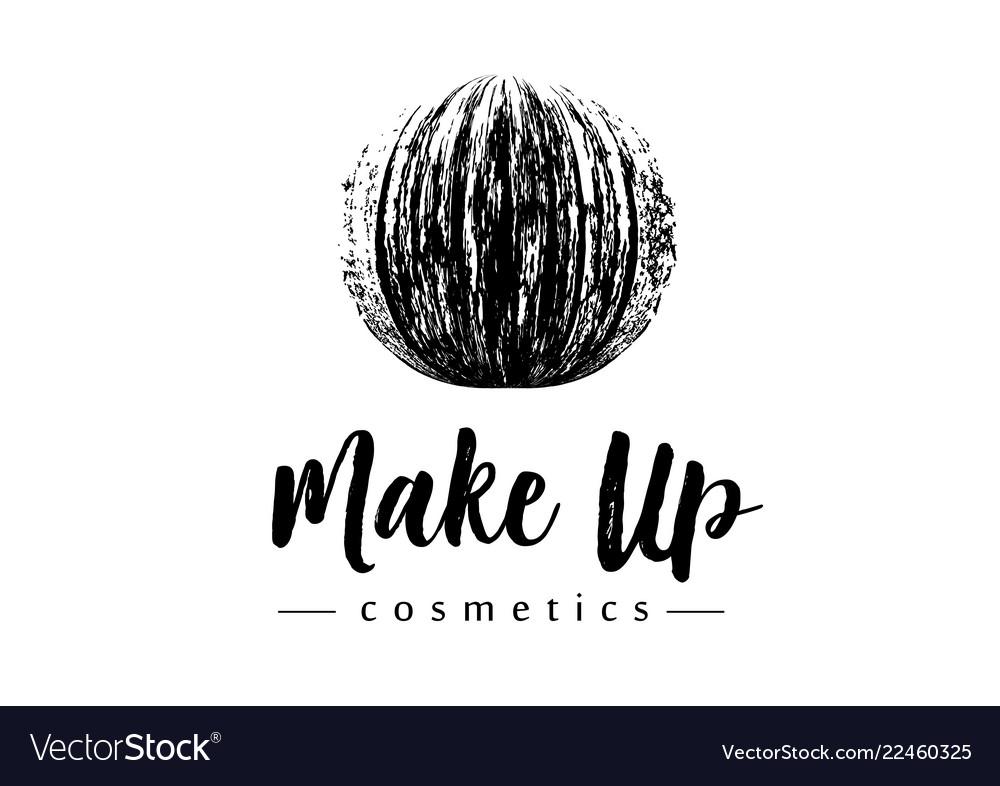 Creative make up logo mmascara brush stroke in