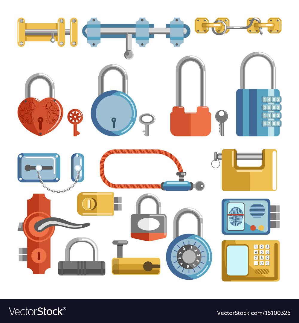 Door locks and padlock latches keys retro