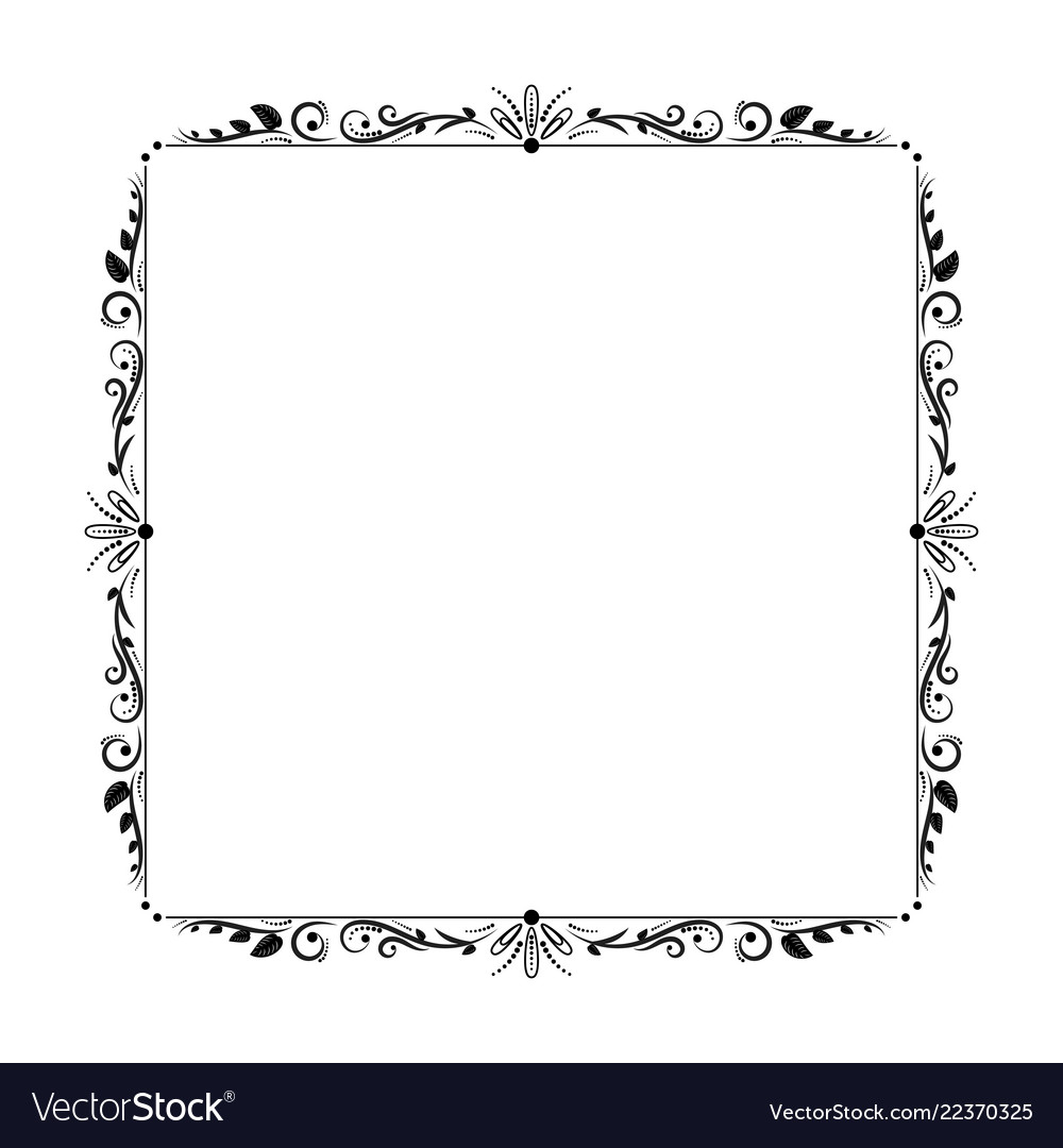 Elegant vintage frame with leaves and wavy lines
