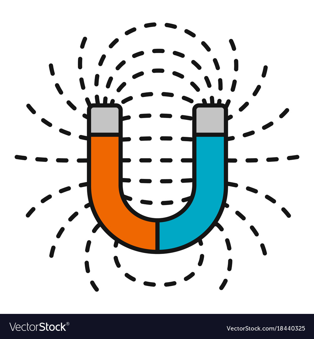 Horseshoe magnet with magnetic fields vector image