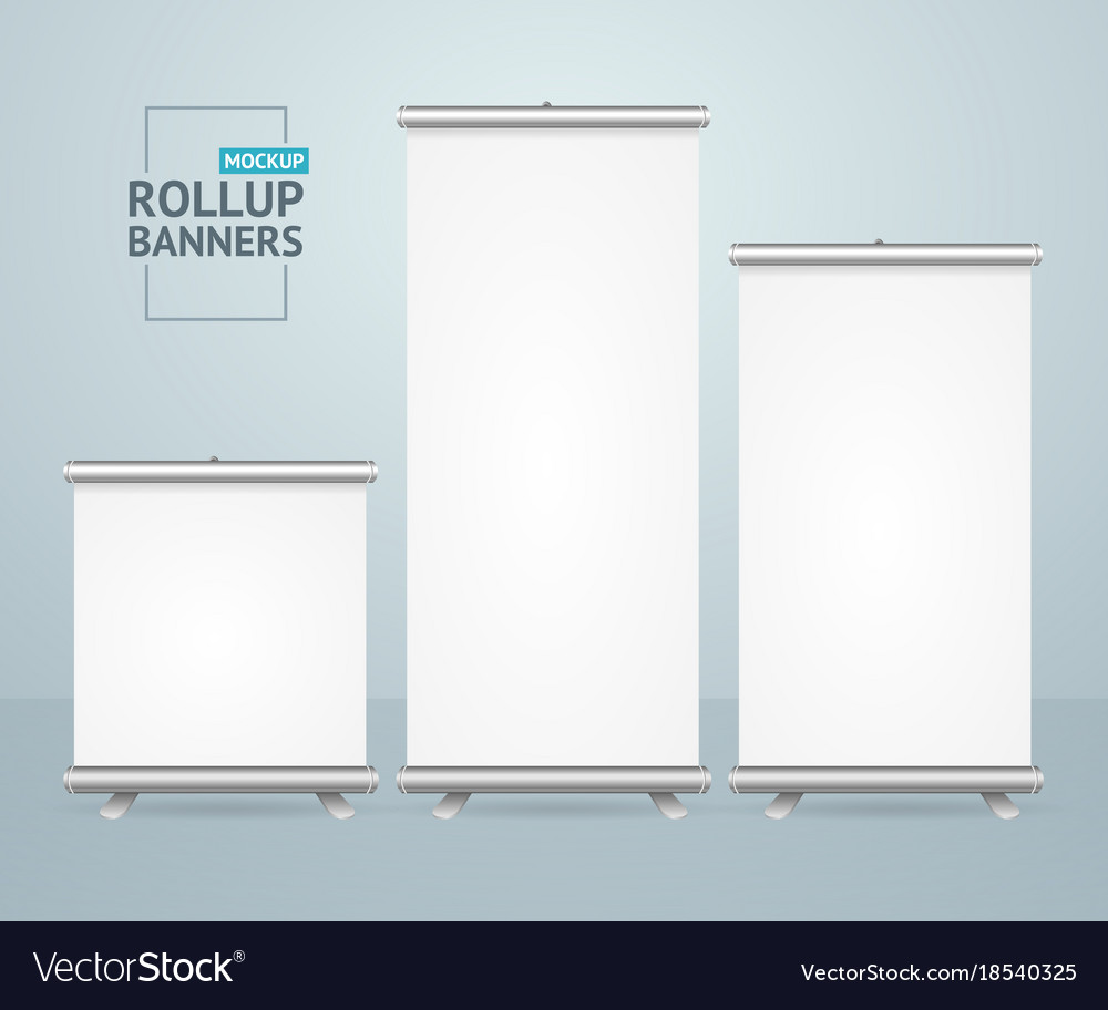 Realistic detailed 3d template blank white roll up