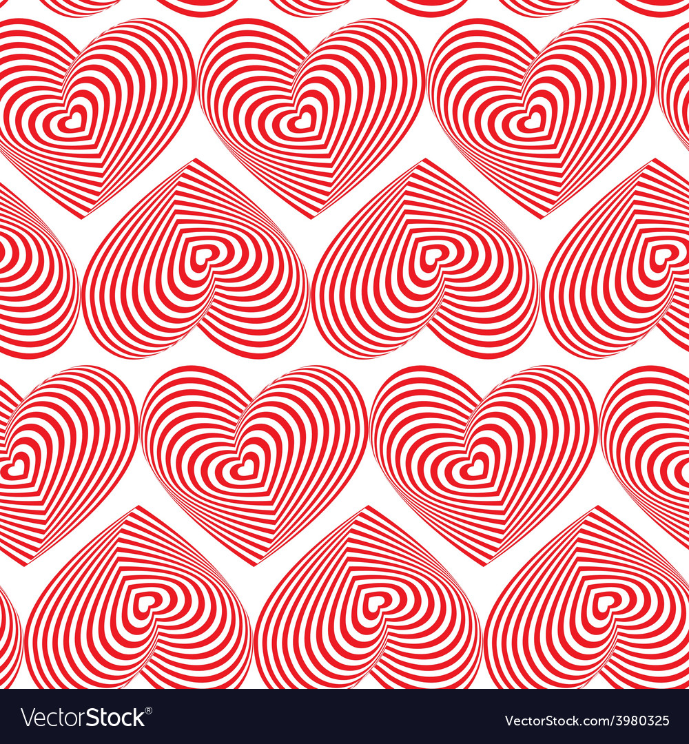 Red Heart Striped seamless pattern on white