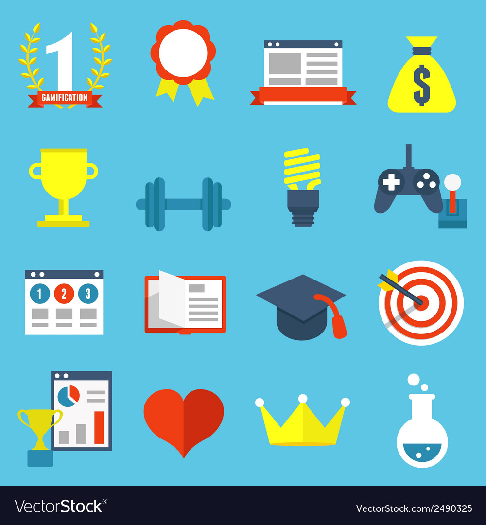Set of gamification icons for design