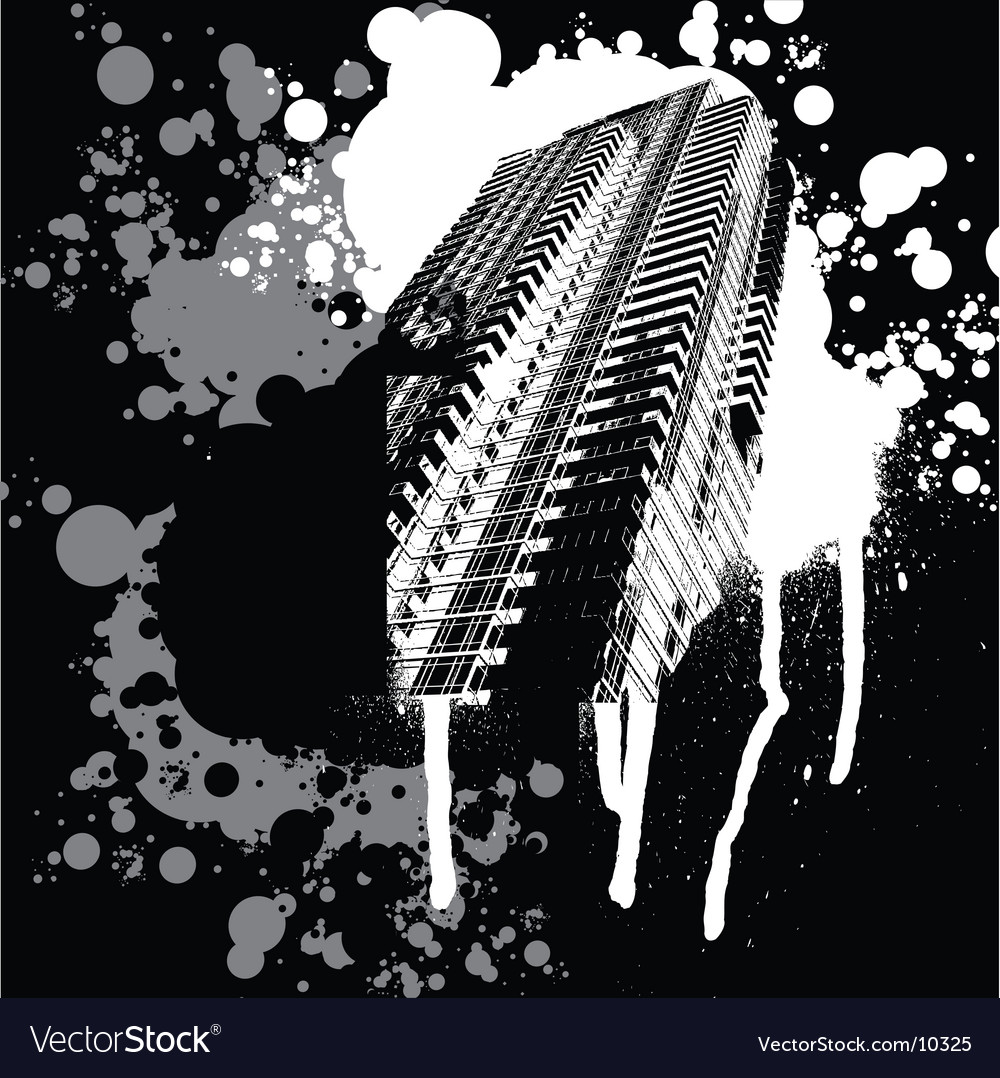 Skyscraper black and white graffiti vector image