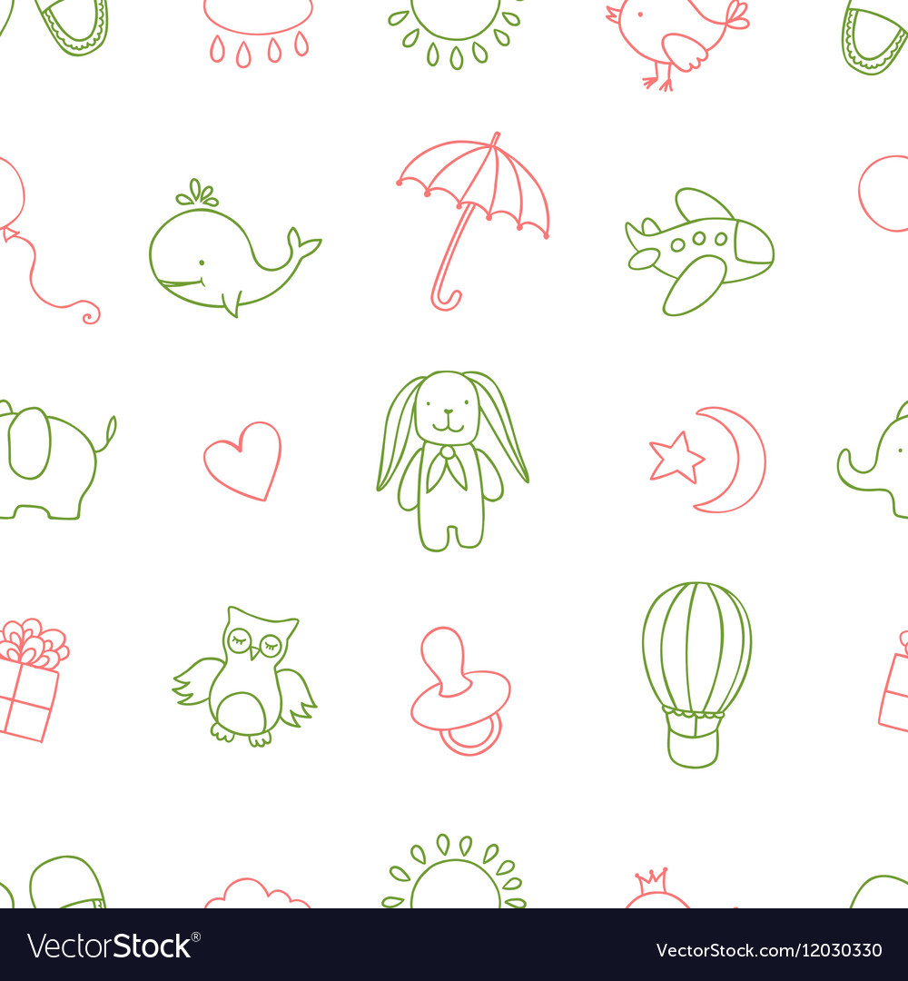 Baby shower related seamless pattern Hand drawn