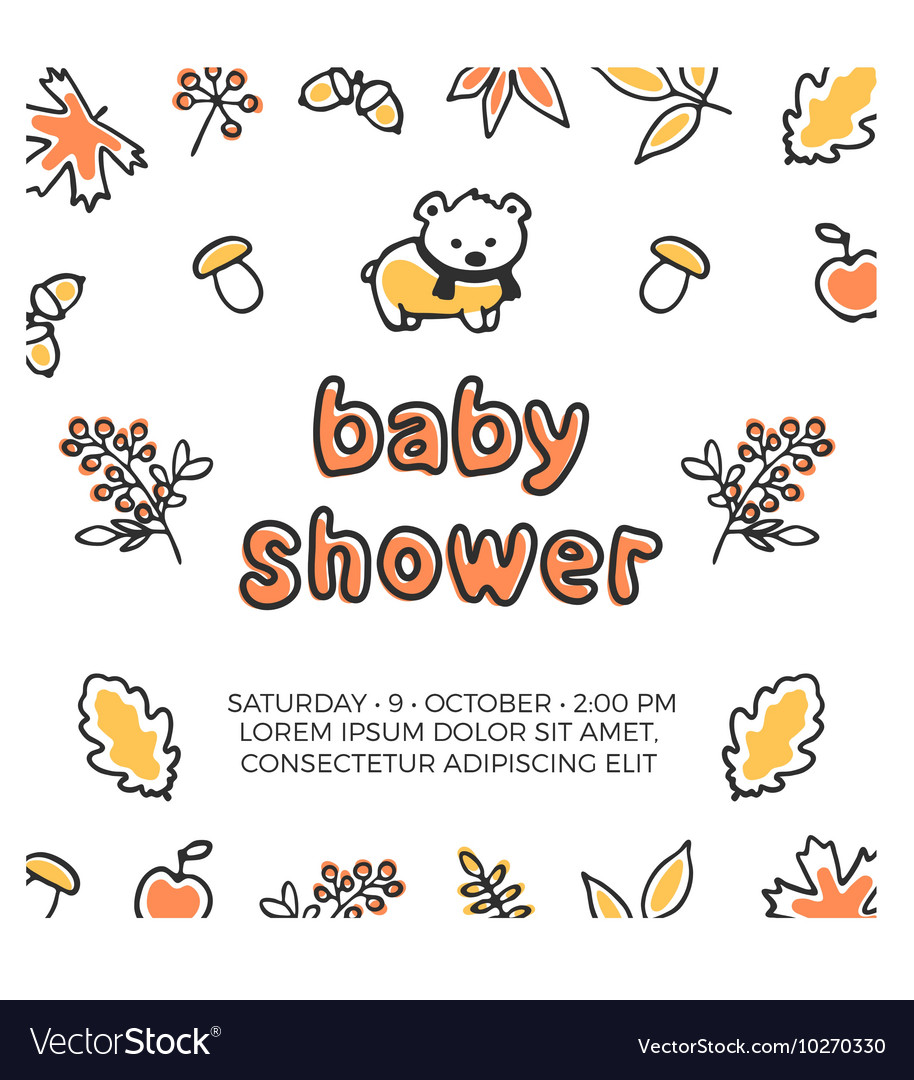 Baby shower template with cute doodle bear