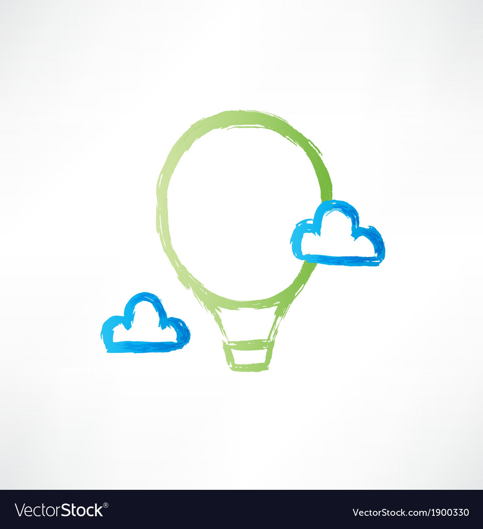 Balloon in the clouds icon