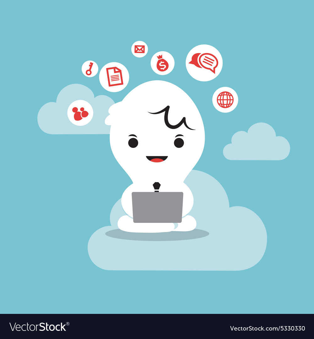 Business man working with laptop cloud network