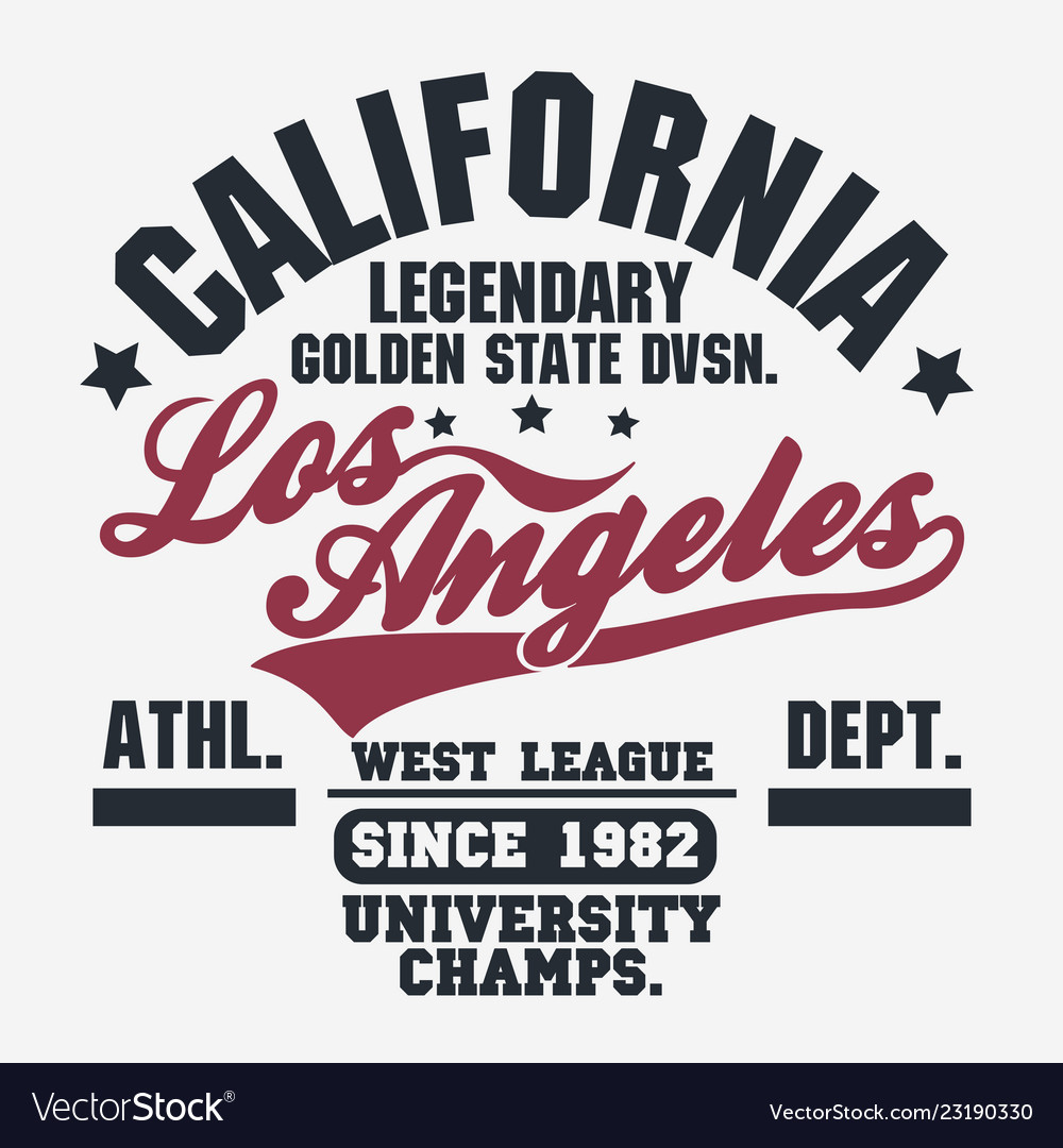 California sport wear t-shirt typography design