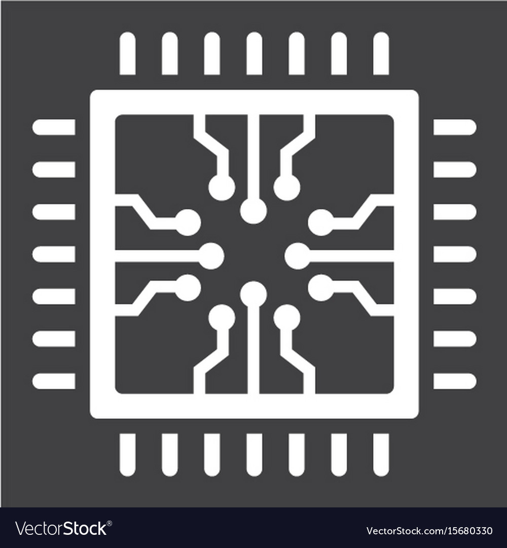 chip solid icon circuit board and cpu royalty free vector vectorstock