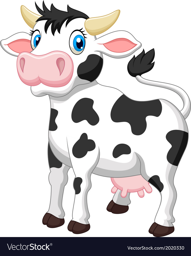 Cute Cow Cartoon Royalty Free Vector Image Vectorstock