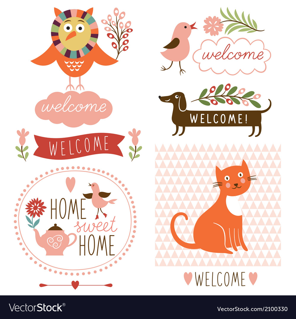 Decor elements welcome home lettering