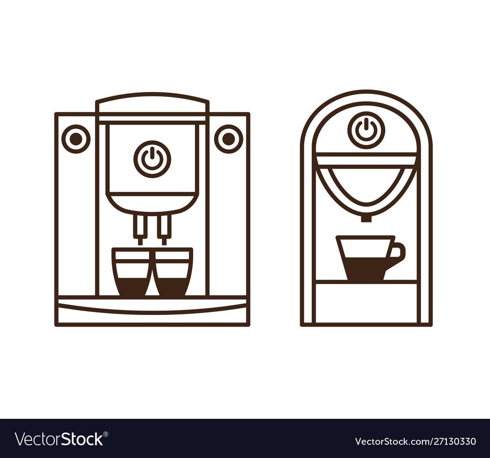 Espresso machine and coffee maker line icons