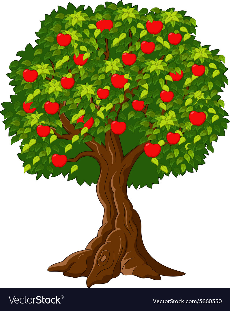 Green Apple Tree Full Of Red Apples Isolated Vector Image