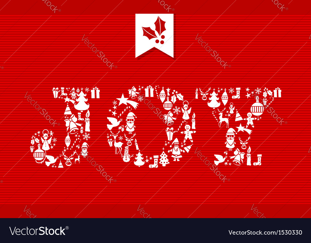 Merry Christmas joy concept icons Royalty Free Vector Image