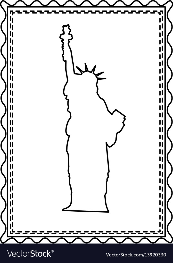 Monochrome contour frame of statue of liberty vector image