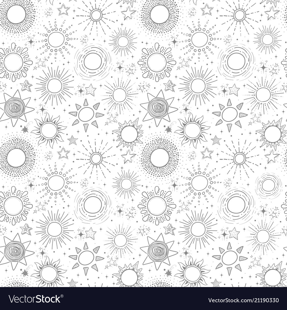 Seamless pattern with grey stars on white