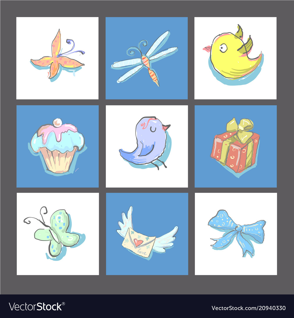 Set of cute birthday cards or prints with birds