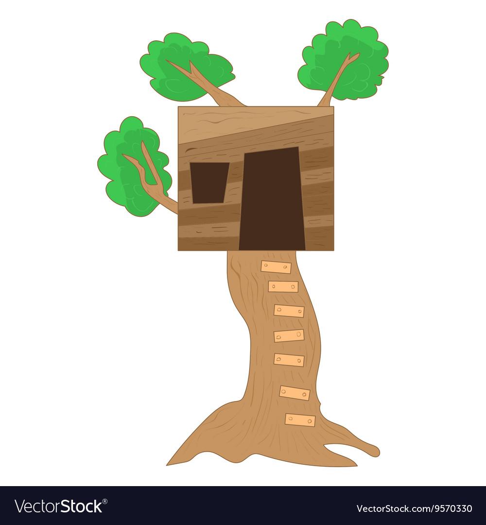 Small tree house icon cartoon style