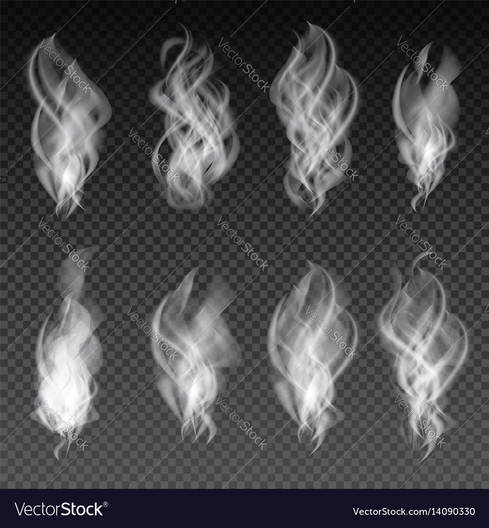 Smoke set isolated on transparent background vector image