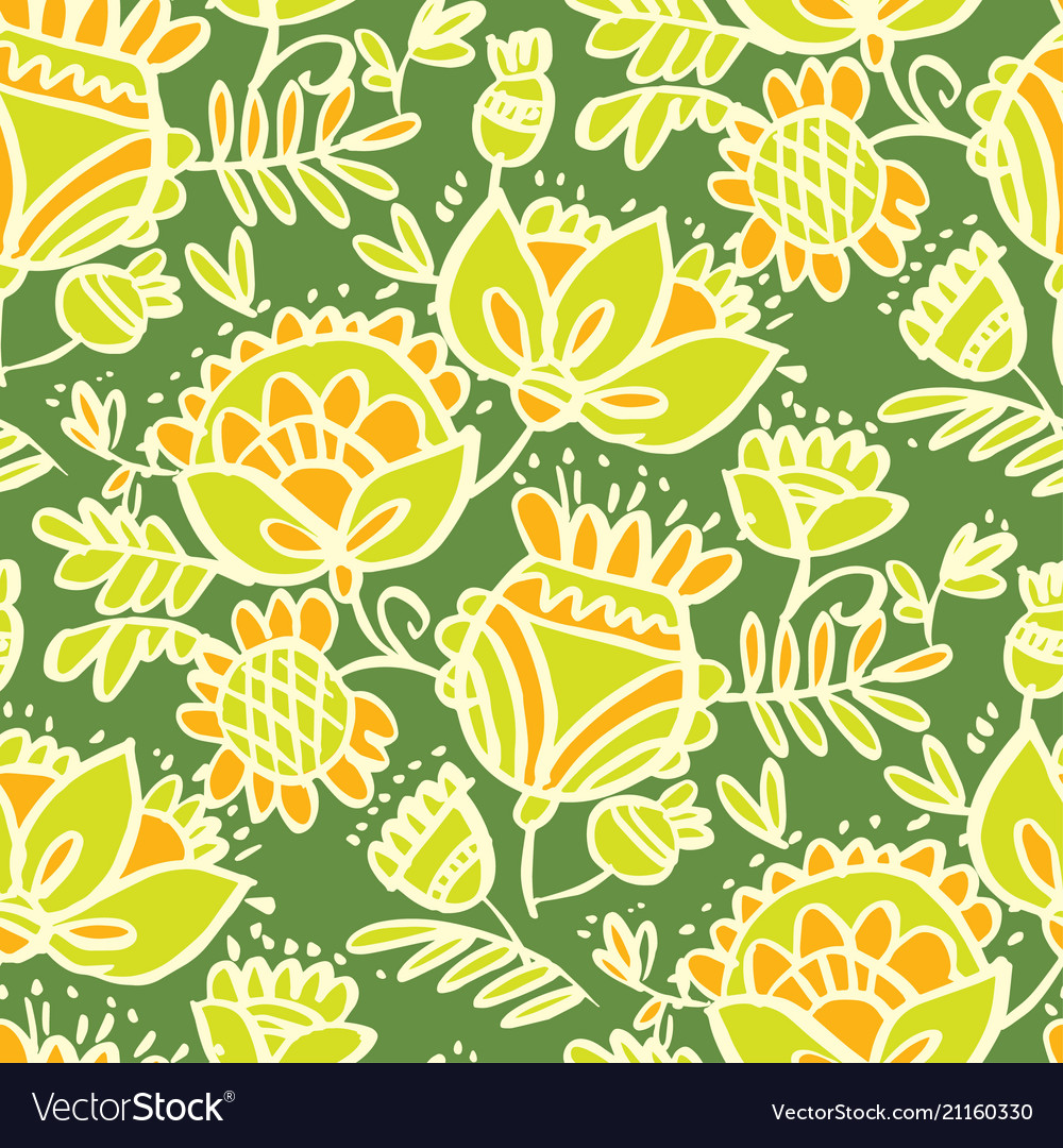 Tropical green abstract sketch floral pattern