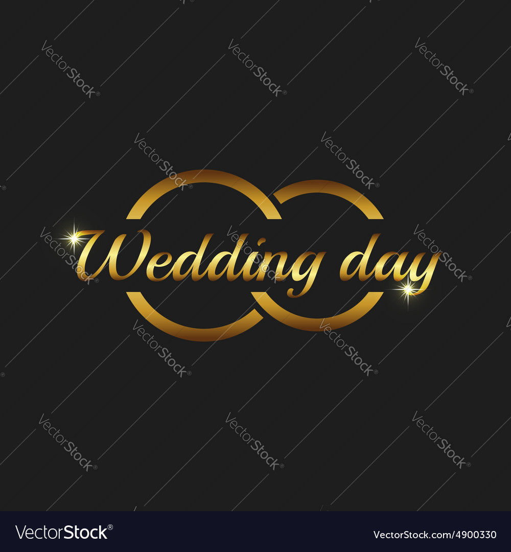 Wedding day greeting card mockup couple gold rings