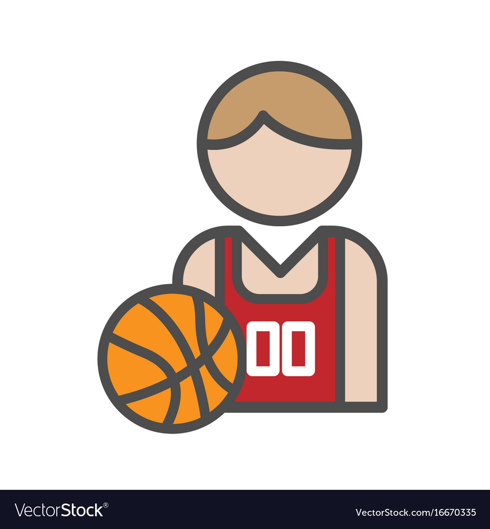 Basketball player avatar icon on white background