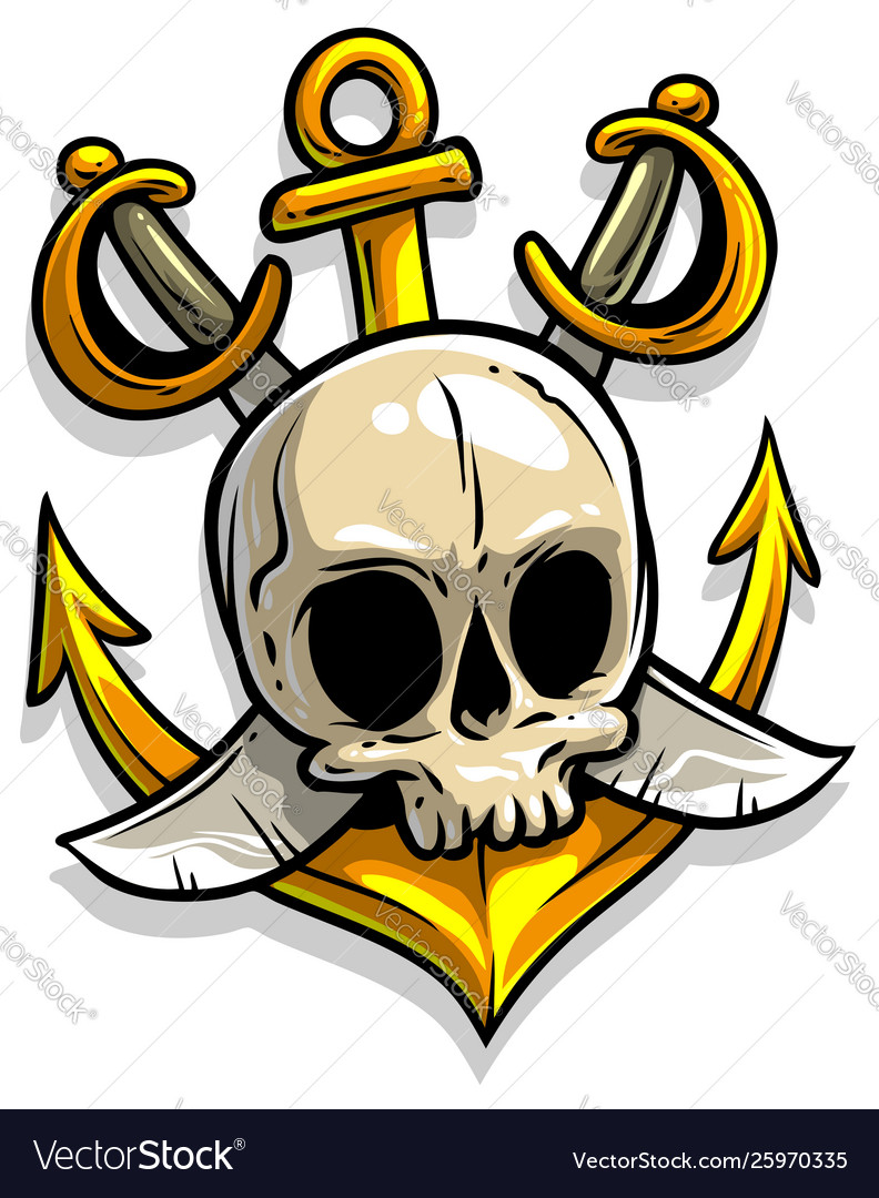 Cartoon skull with anchor and crossed swords